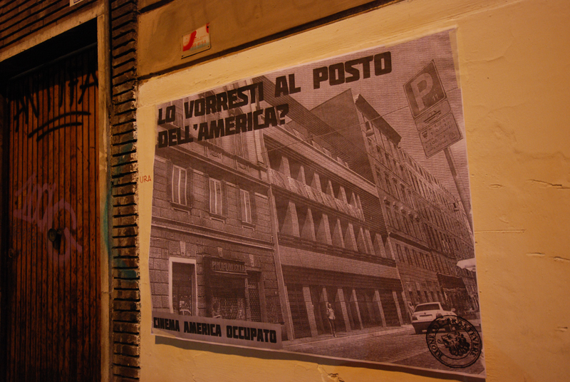 Cinema America occupato, uno striscione