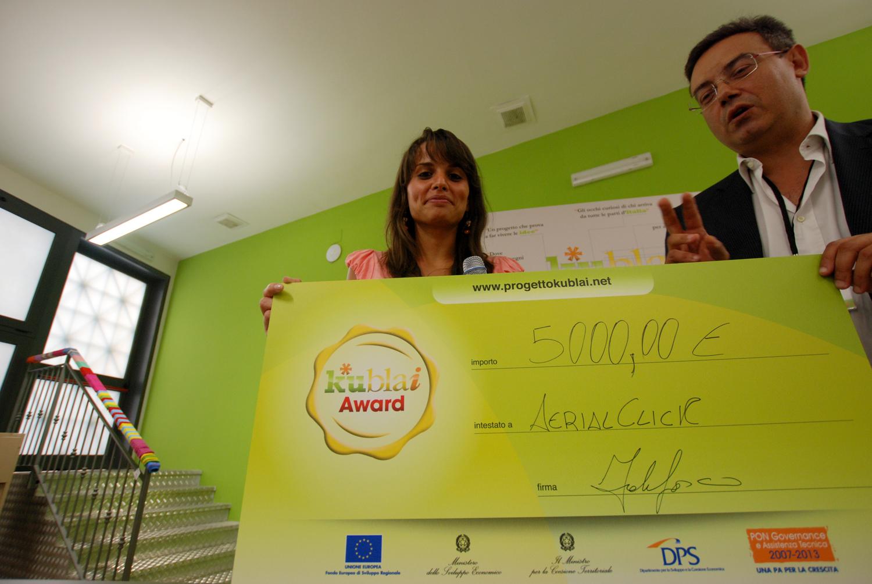 Il momento della premiazione del progetto AerialClick